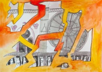 """Badmintona turnīra """"Yonex Latvia International"""" zīmējuma konkursa par Notre-Dame dalībnieka darbs."""